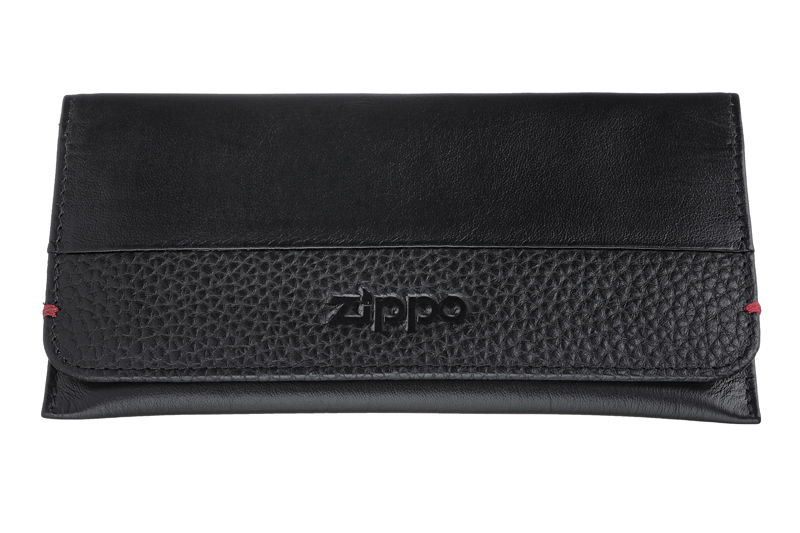Кожаный американский чёрный кисет 15,5х8х1,2 см для табака Zippo 2006058