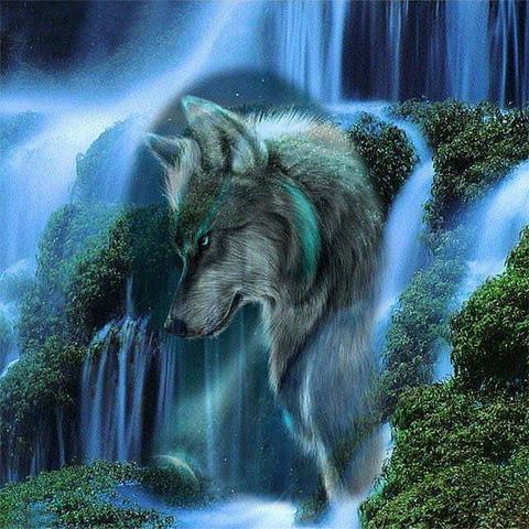 Алмазная Мозаика 50x65 Волк и водопад