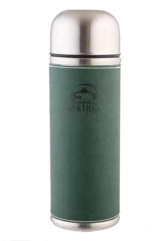 Термос Арктика (0,7 литра) с узким горлом, зеленый, кожаная вставка