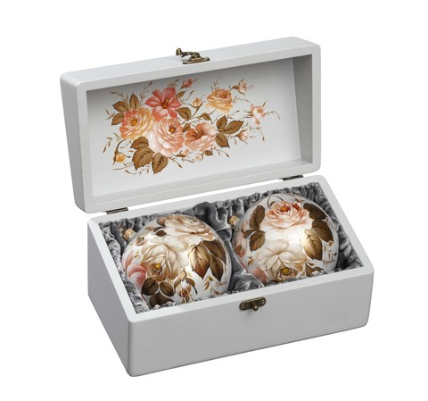 Zhostovo Christmas balls in wooden box - set of 2 balls SET04D-667785866