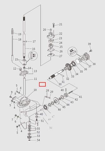 Редуктор в сборе для лодочного мотора T9.8 Sea-PRO (13-1)