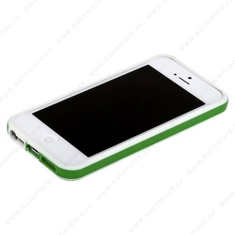 Бампер для iPhone SE/ 5s/ 5C/ 5 белый с зеленой полосой