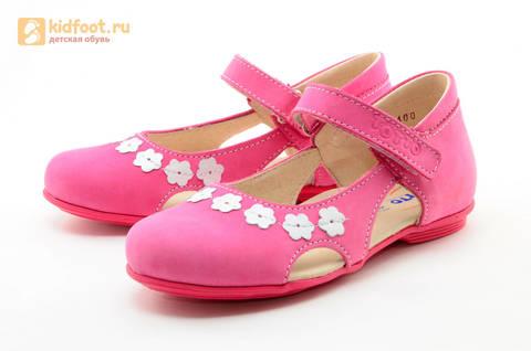 Туфли Тотто из натуральной кожи на липучке для девочек, цвет Розовый, 10208A. Изображение 6 из 16.