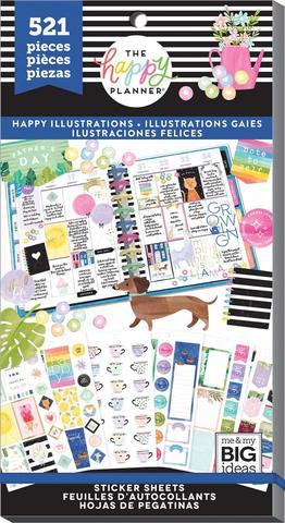 Блокнот со стикерами -Value Pack Stickers - HAPPY ILLUSTRATIONS- 521 шт