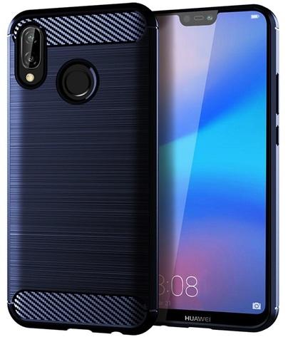 Защитный чехол синего цвета для Huawei P20 Lite, серии Carbon от Caseport