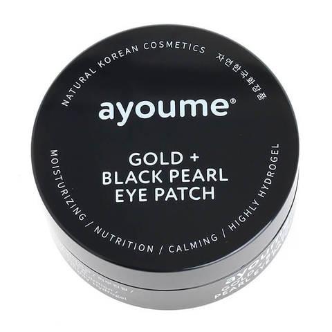 Патчи для глаз от темных кругов с золотом и черным жемчугом AYOUME GOLD+BLACK PEARL EYE PATCH 1,4гр*60
