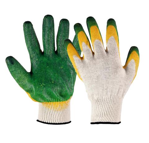 Утепленные рабочие перчатки ХБ с двойным латексным покрытием