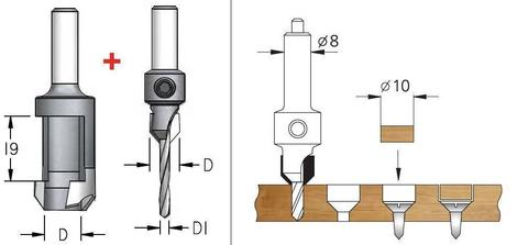 Комплект сверла-зенковки и пробочного сверла d 2,5 мм  PLP1254