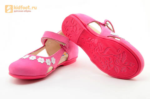 Туфли Тотто из натуральной кожи на липучке для девочек, цвет Розовый, 10208A. Изображение 9 из 16.
