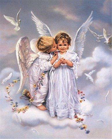 Алмазная Мозаика 40x50 Поцелуй ангелочков