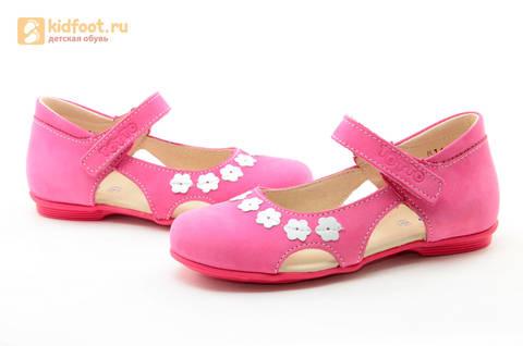 Туфли Тотто из натуральной кожи на липучке для девочек, цвет Розовый, 10208A. Изображение 11 из 16.