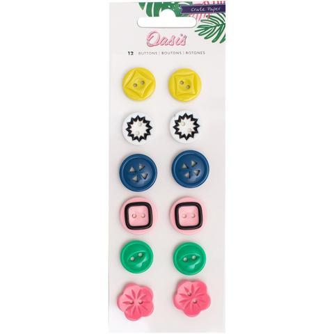 Пуговицы Plastic Buttons -коллекция Oasis от Crate Paper -12шт.
