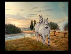 """Постер """"Два белых коня"""""""