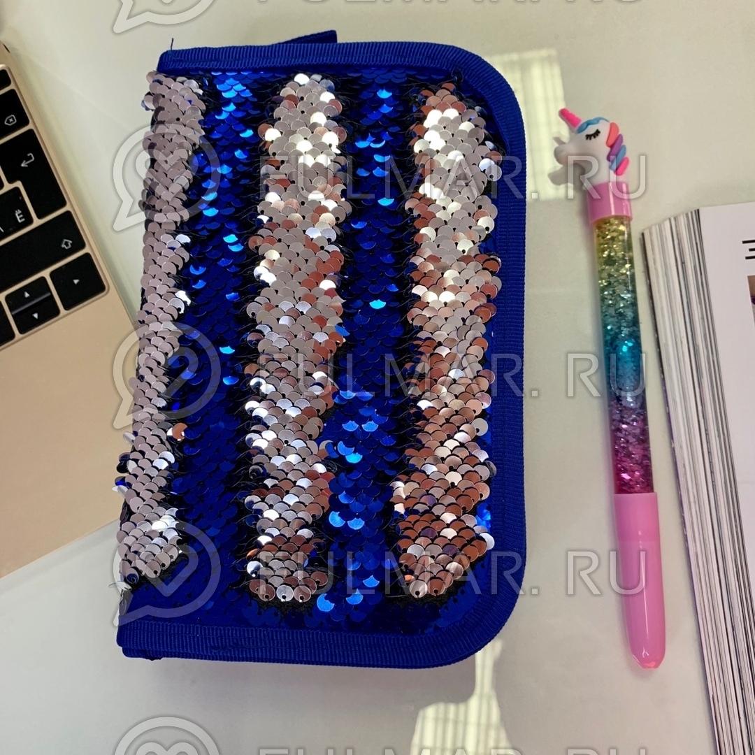 Пенал двухсекционный с пайетками на молнии для девочек меняет цвет Синий-Серебристый фото