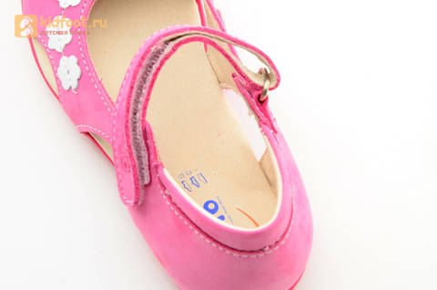 Туфли Тотто из натуральной кожи на липучке для девочек, цвет Розовый, 10208A. Изображение 16 из 16.