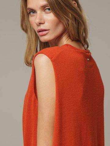 Женское оранжевое платье свободного кроя без рукавов из 100% кашемира - фото 4