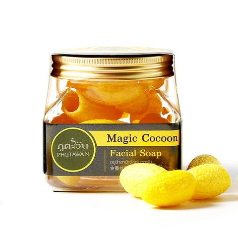 Шелковые коконы для лица с Пчелиным маточным молочком Phutawan Magic Cocoon Facial Soap 40 гр.
