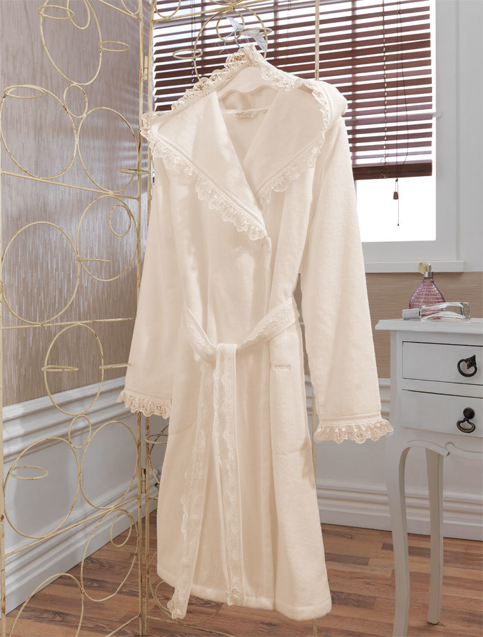 Махровые халаты LUNA- ЛУНА  Кремовый махровый женский халат с капюшоном  Soft Cotton (Турция) LUNA_кр.jpg