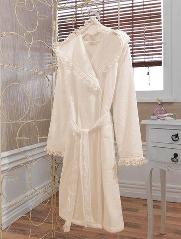 LUNA- ЛУНА  Кремовый махровый женский халат с капюшоном  Soft Cotton (Турция)