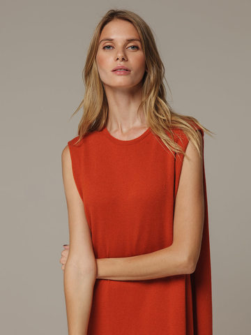 Женское оранжевое платье свободного кроя без рукавов из 100% кашемира - фото 2