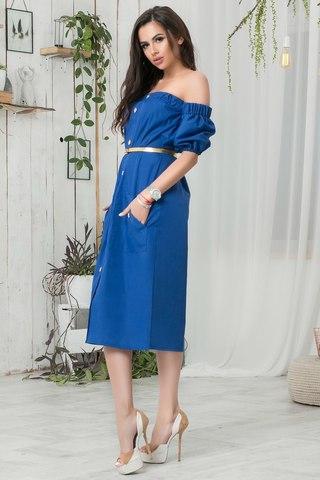 Летнее платье-миди с открытыми плечами, синее 2