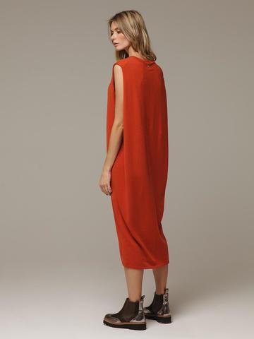 Женское оранжевое платье свободного кроя без рукавов из 100% кашемира - фото 3