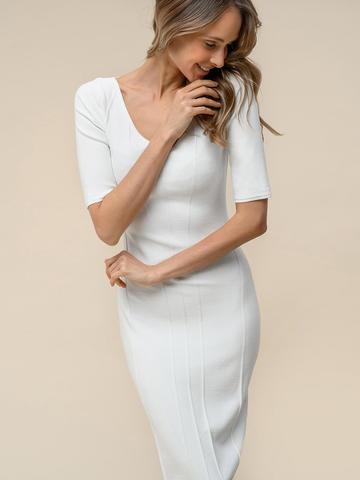 Женское платье молочного цвета из вискозы - фото 3