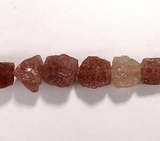 Бусина из кварца клубничного, фигурная, 11x13 - 13x15 мм (природная форма)