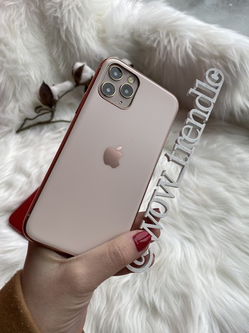 Чехол iPhone 11 Glass Silicone Case Logo matte /rose/