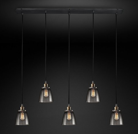 Подвесной светильник копия 20th C. Factory Filament Smoke Glass Cloche Rectangular Pendant by Restoration Hardware