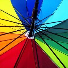 Зонтик радуга 16 цветный с коричневой ручкой
