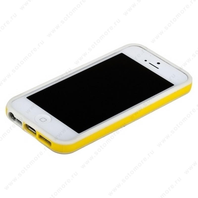 Бампер для iPhone SE/ 5s/ 5C/ 5 белый с желтой полосой