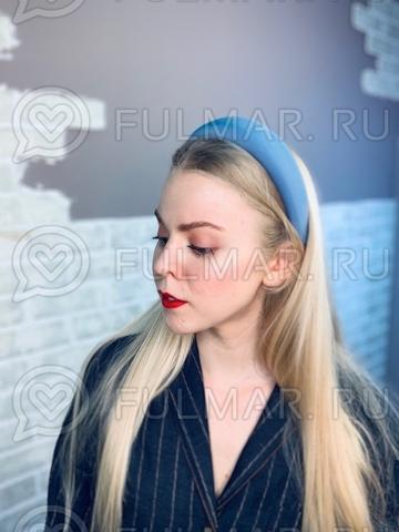 Широкий ободок для волос модный 2019 Голубой