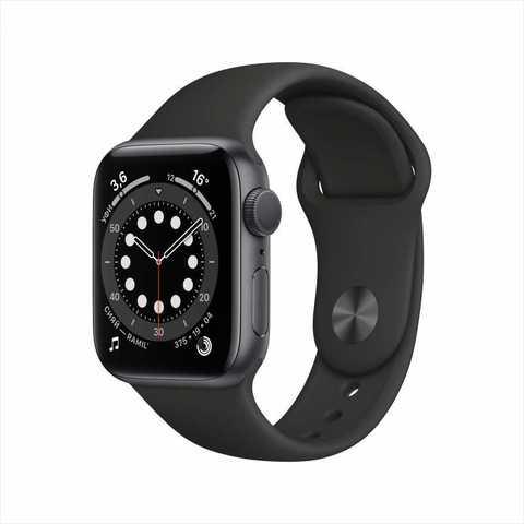 Apple Watch Series 6, 44 мм, корпус из алюминия цвета «серый космос», спортивный ремешок чёрного цвета