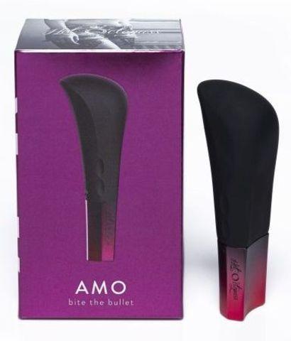 Черный ультрамощный вибромассажер AMO - 10 см.