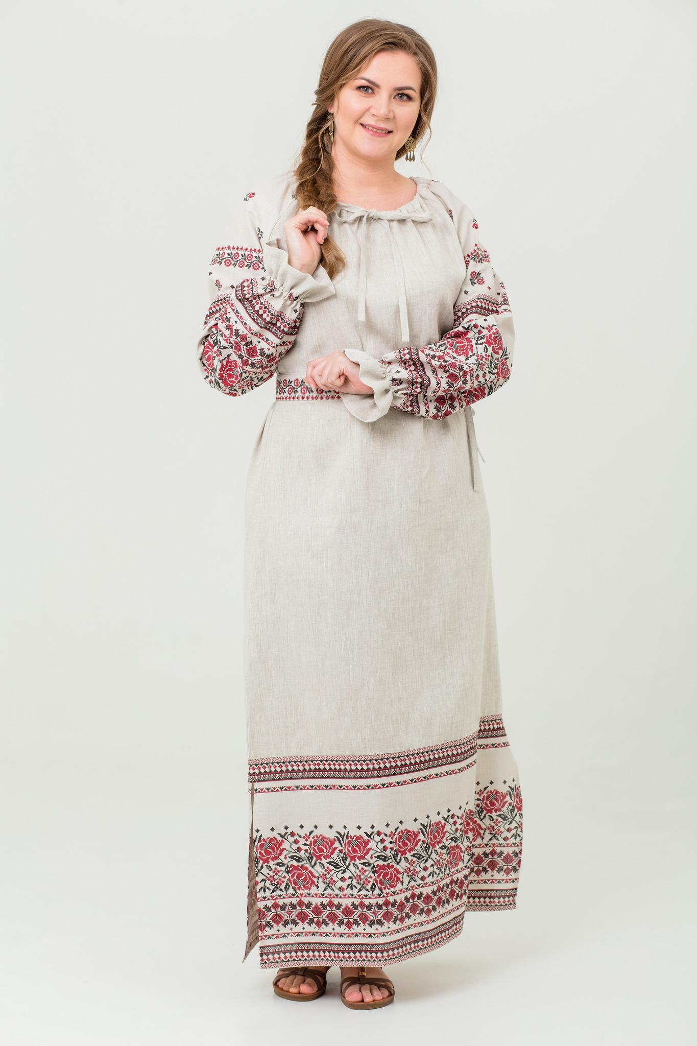 платье Женское счастье на небелёном с поясом