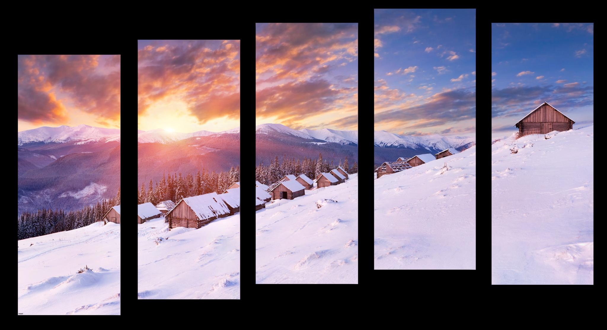 """Природа Модульная картина """"Зима в горах"""" М1042_M_загибы_110х66.png"""