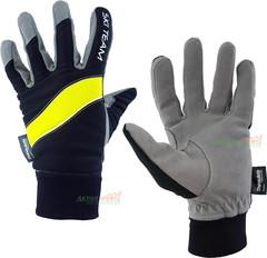 Лыжные перчатки Ski Team K18003BL черно/салатовые