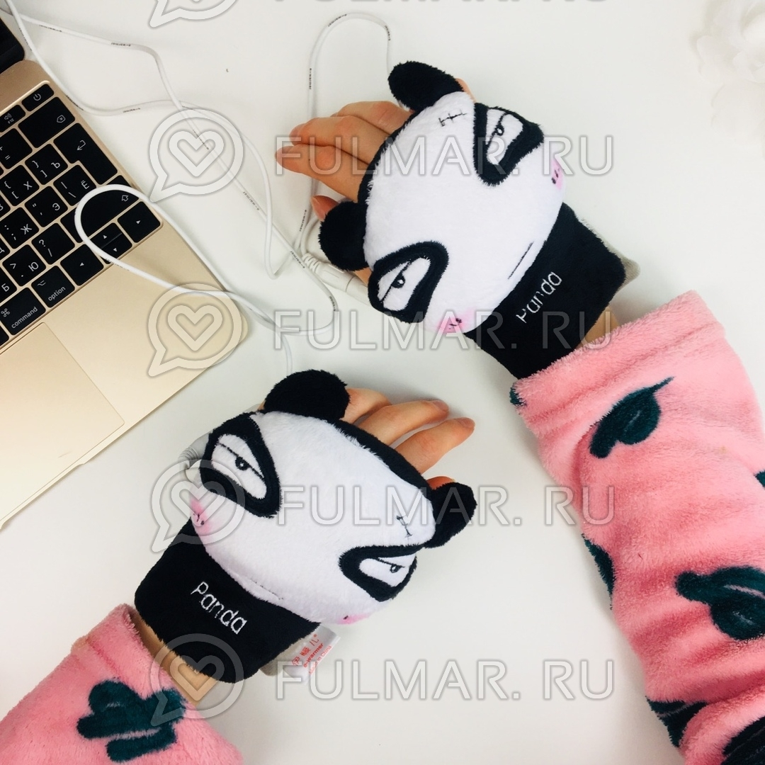 Грелки для рук USB перчатки с подогревом Панда фото