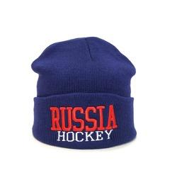 Вязаная шапка Русский хоккей (Russia hockey) синяя