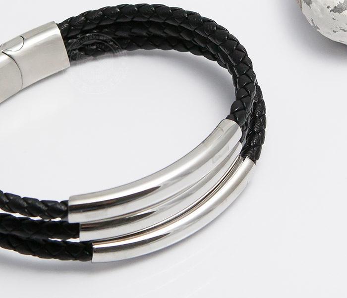 BM490 Браслет из кожаных шнуров со стальной застежкой (20 см) фото 05