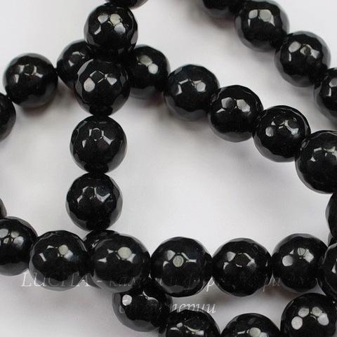 Бусина Жадеит (тониров), шарик с огранкой, цвет - черный, 10 мм, нить