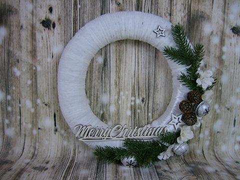 Вінок декоративний Merry Christmas білий