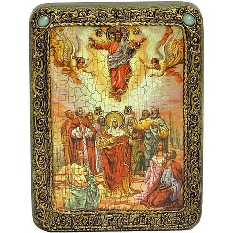 Инкрустированная рукописная икона Вознесение Господне 20х15см на натуральном дереве, в подарочной коробке