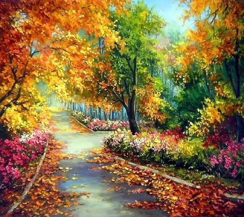 Картина раскраска по номерам 30x40 Осенняя дорога