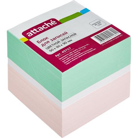 Блок для записей Attache 90x90x90 мм разноцветный (плотность 80-100 г/кв.м)