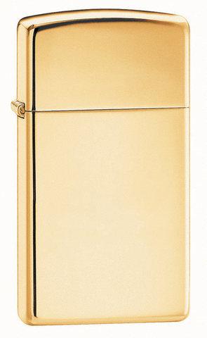 Зажигалка Zippo Slim High Polish Brass, латунь/сталь, золотистая, глянцевая, 30x10x55 мм123