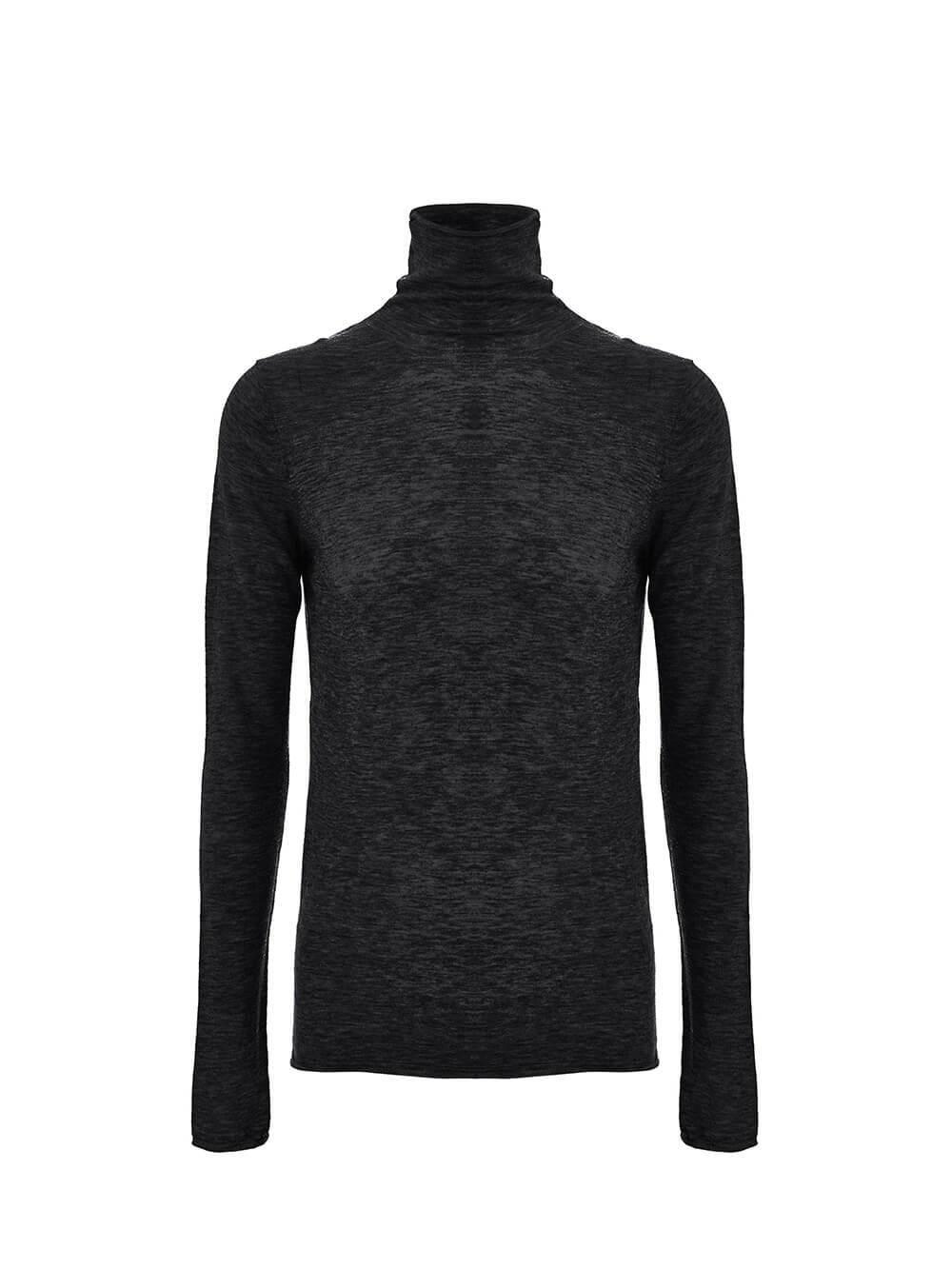 Женский джемпер черного цвета из 100% шерсти - фото 1