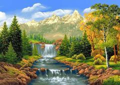 Алмазная Мозаика 40x50 Водопад на фоне гор