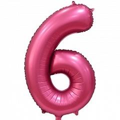 Шар (34''/86 см) Цифра, 6, Бордовый, Сатин, в упаковке 1 шт.